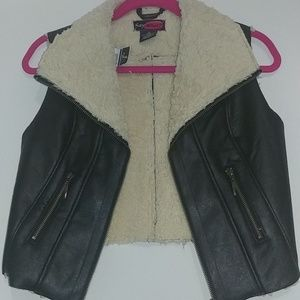 New faux leather sherpa lined vest